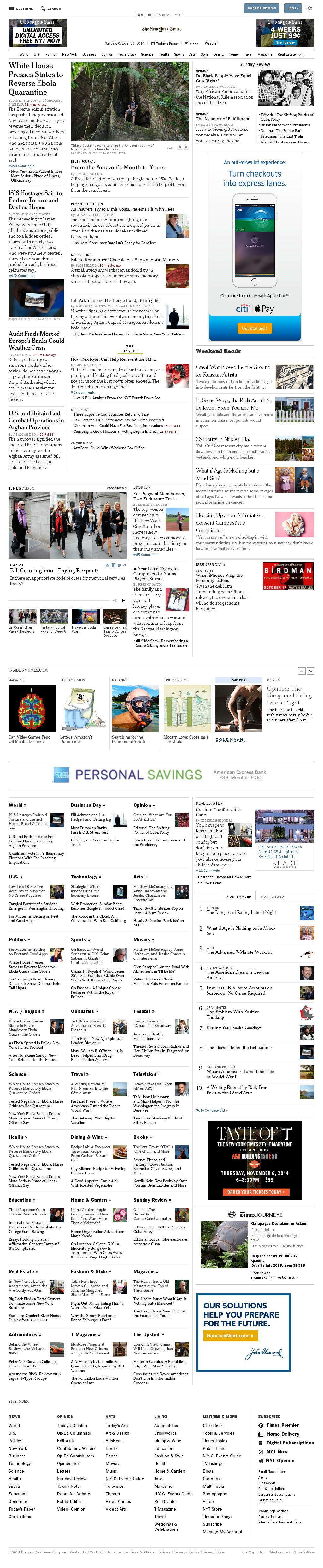 The New York Times at Sunday Oct. 26, 2014, 8:10 p.m. UTC